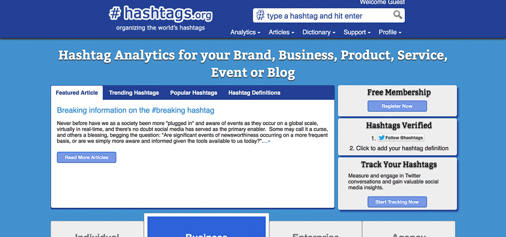 hashtags.org tracking screenshot