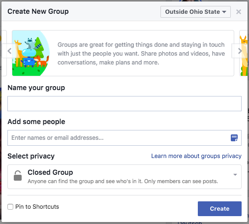 create your facebook group name