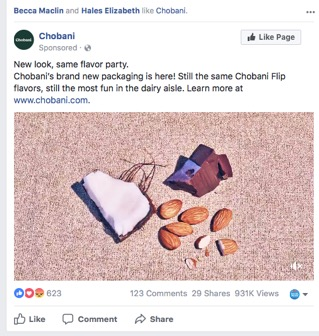 Chobani Facebook Ad