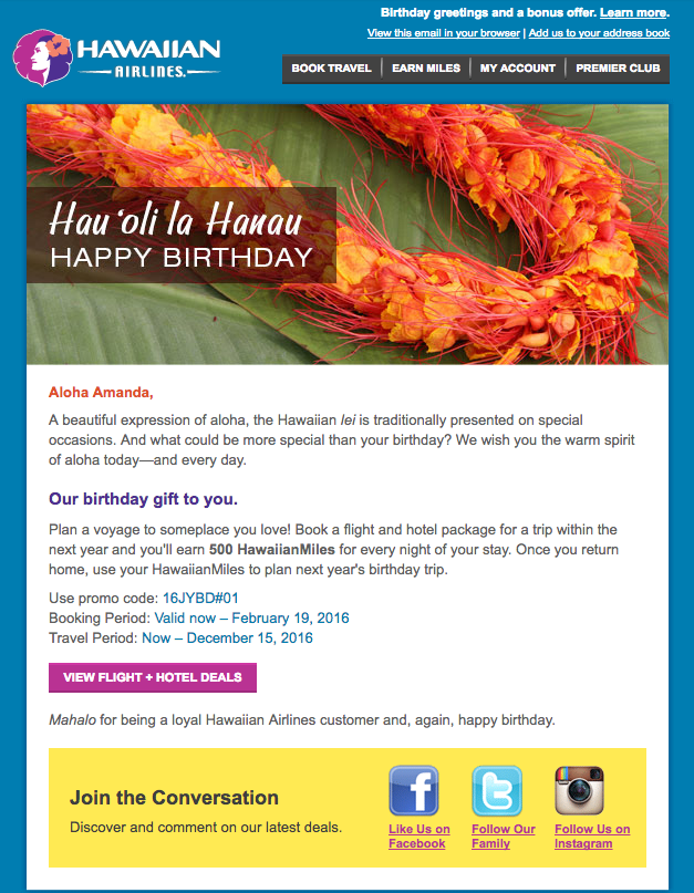 Birthday message from Hawaiian Air
