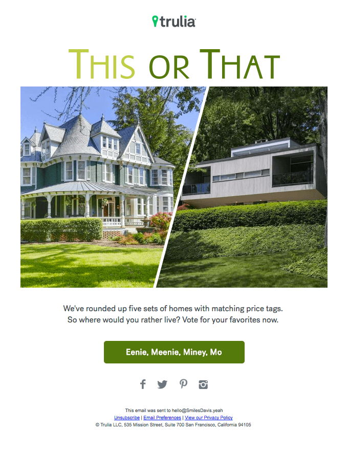 Trulia's this-or-that email