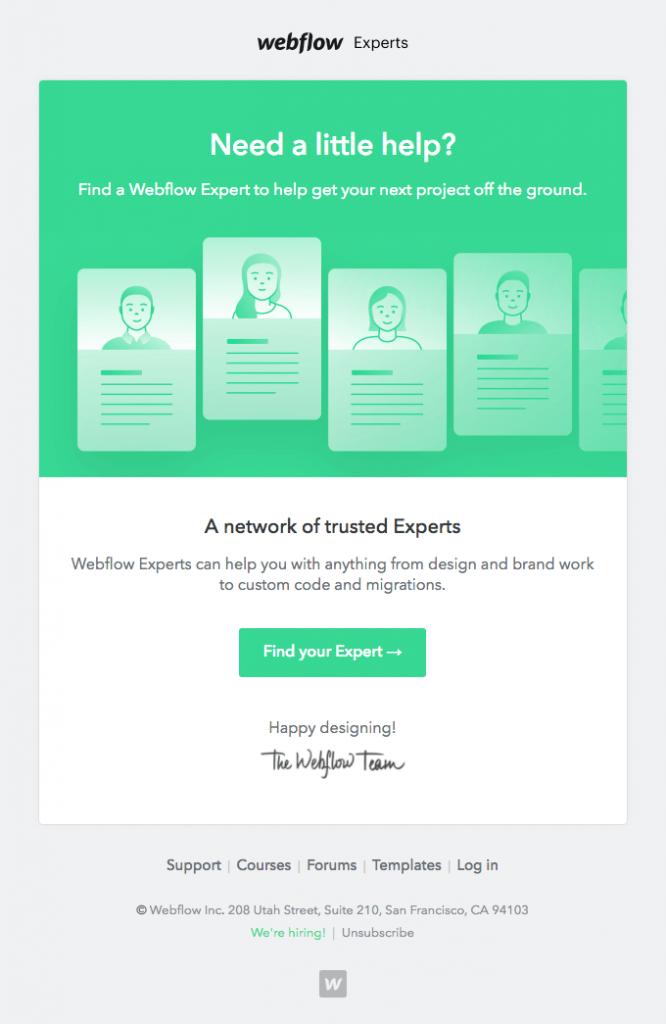 Webflow email copy