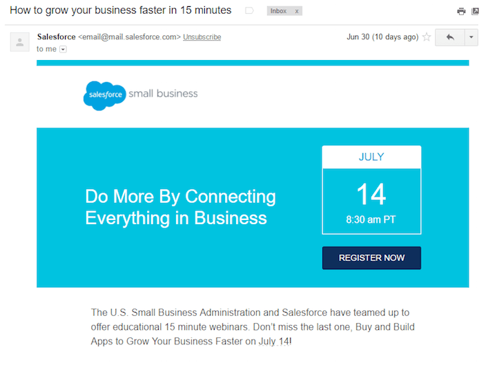 Salesforce email example