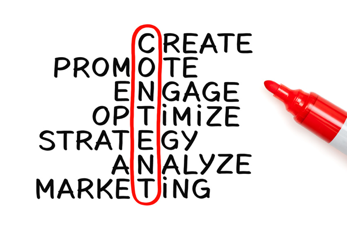 Create, Promote, Engage, Optimize, Strategy, Analyze, Marketing Social Media