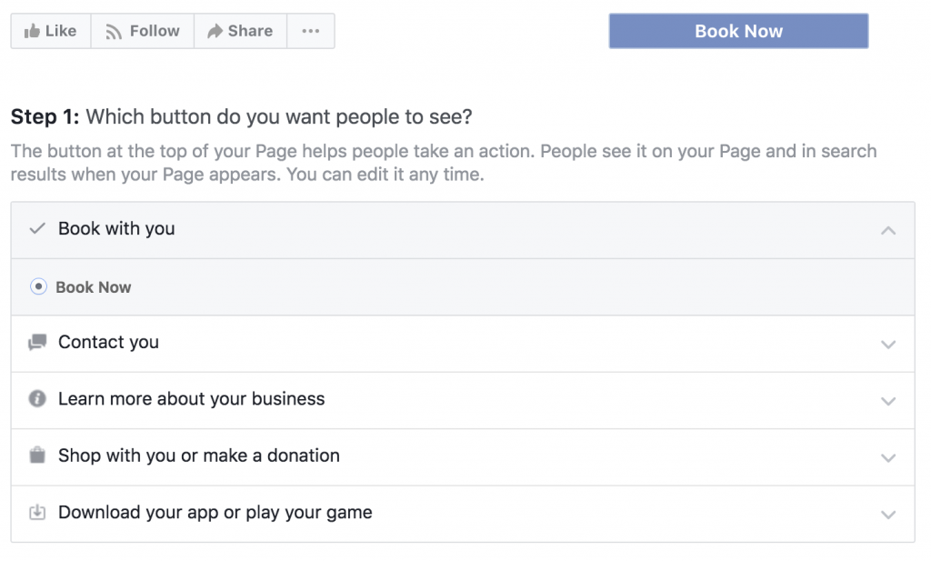 Facebook Page CTA Options