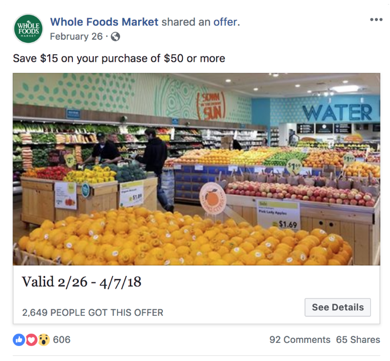 Whole Foods FB Offer Ad