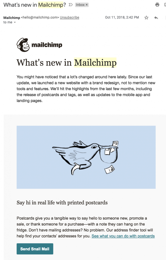 Mailchimp's email newsletter template follows layout best practices