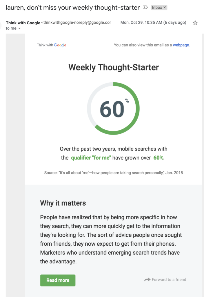 Think with Google focuses on a single subject