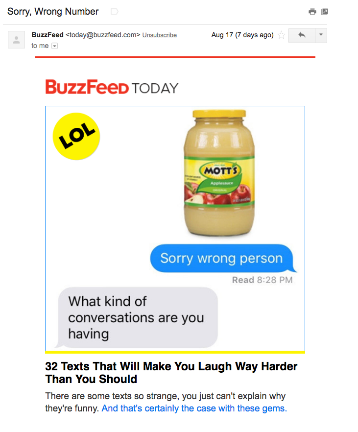 Buzzfeed encourages opens through attention-grabbing subject lines